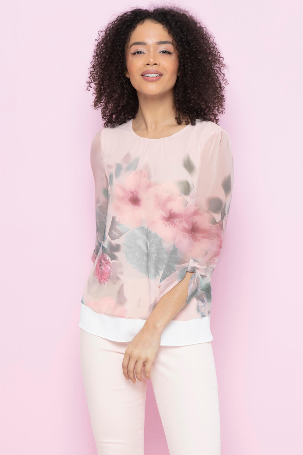 Roman-Originals-Womens-3-4-Length-Sleeve-Floral-Overlay-Top thumbnail 13