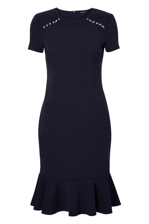 Roman-Originals-Women-039-s-Blue-Pearl-Detail-Square-Neck-Dress-Sizes-10-20 thumbnail 10