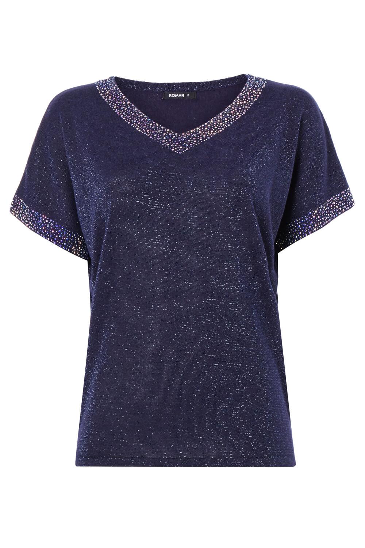 Roman-Originals-Women-039-s-Embellished-Batwing-T-shirt thumbnail 29