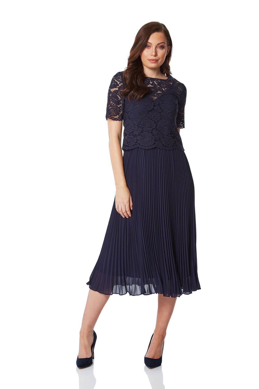Roman-Originals-Women-Lace-Top-Overlay-Pleated-Dress thumbnail 14