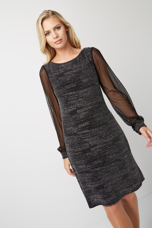 Roman-Originals-Women-039-s-Chiffon-Sleeve-Shimmer-Dress