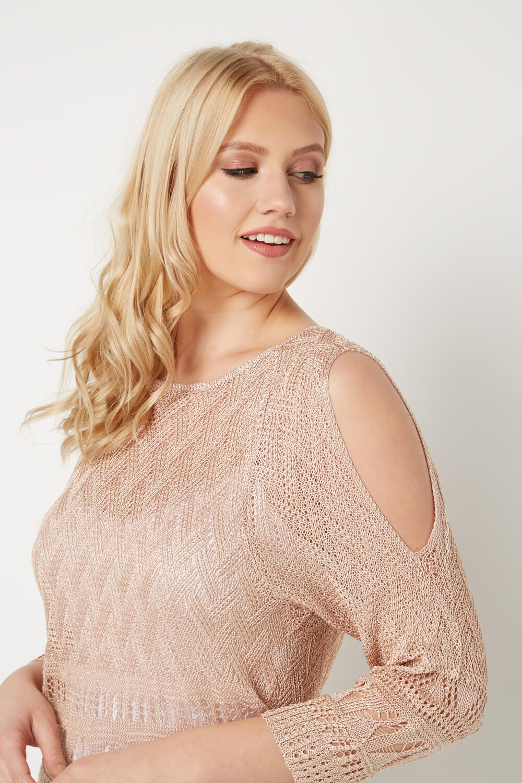 Roman-Originals-Women-039-s-Rose-Pink-Pointelle-Cold-Soulder-Jumper-Sizes-10-20 thumbnail 7