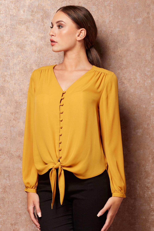 Roman-Originals-Women-039-s-Button-Tie-Front-Blouse-Ladies-Tops thumbnail 19