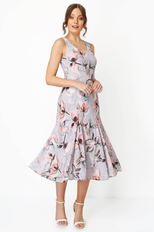 Roman-Originals-Womens-Floral-Bias-Cut-Godet-Dress thumbnail 7