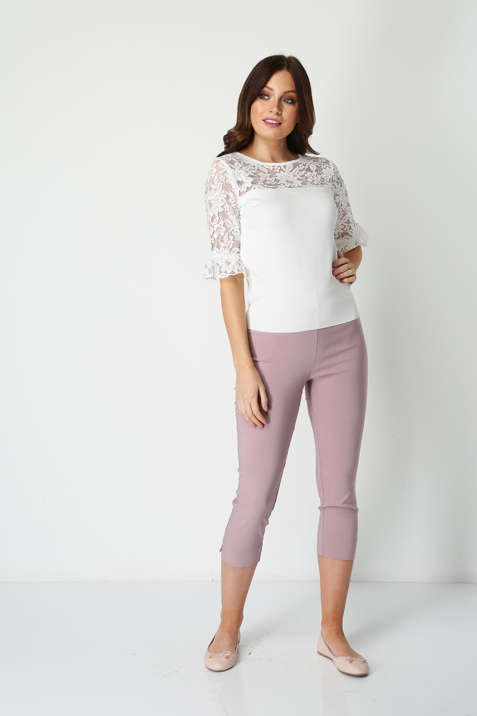 Roman-Originals-Women-039-s-Lace-Overlay-Frill-Sleeve-Top thumbnail 19