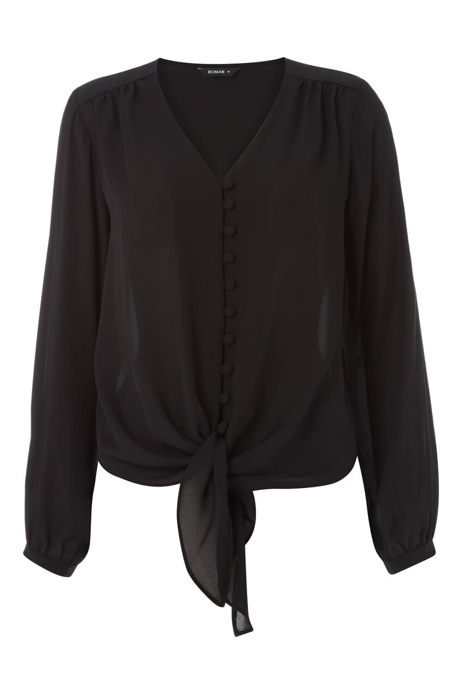 Roman-Originals-Women-039-s-Button-Tie-Front-Blouse-Ladies-Tops thumbnail 16