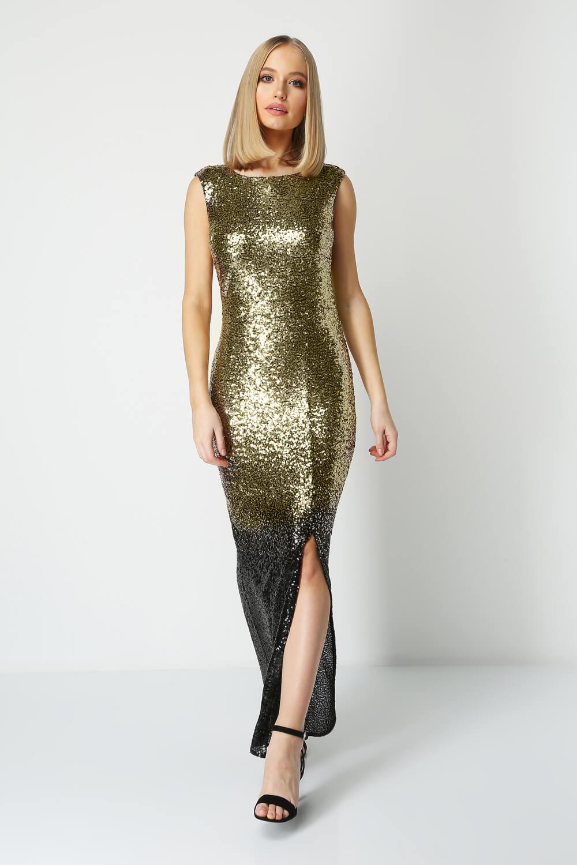 Roman-Originals-Women-Ombre-Sequin-Maxi-Dress-Ladies thumbnail 9