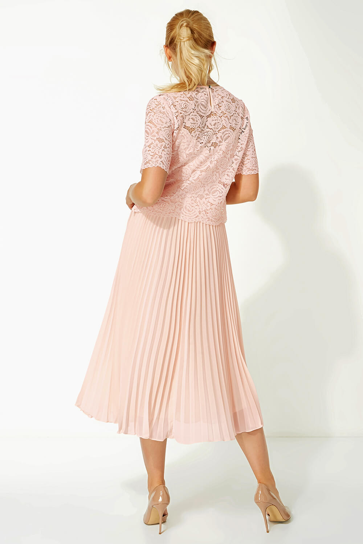 Roman-Originals-Women-Lace-Top-Overlay-Pleated-Dress thumbnail 29