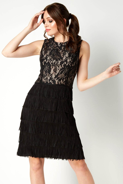 thumbnail 15 - Roman-Originals-Womens-Lace-Flapper-Tassels-Dress-in-Black-Sizes-10-20