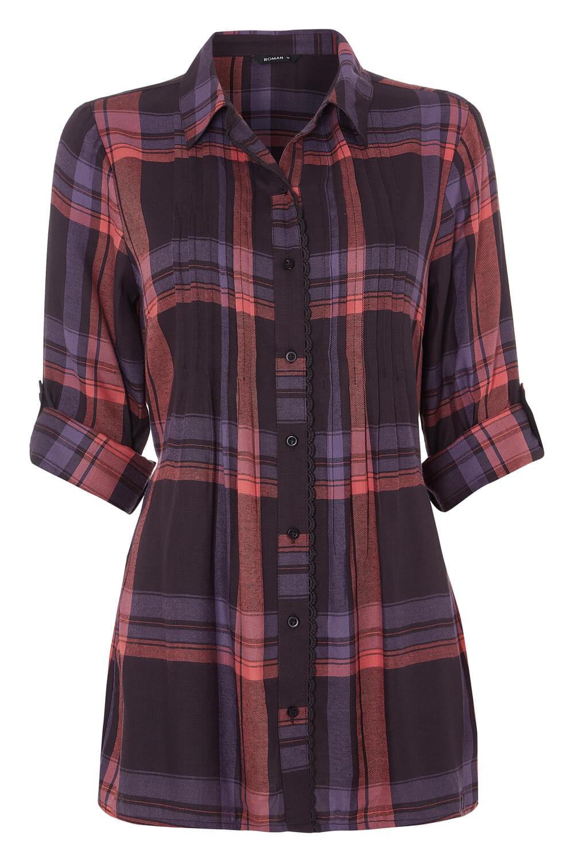 Roman-Originals-Women-Check-Pintuck-Shirt-in-Purple-sizes-10-20 thumbnail 13
