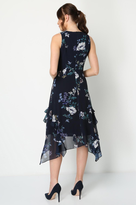 Roman-Originals-Women-Floral-Hanky-Hem-Ruffle-Dress thumbnail 10