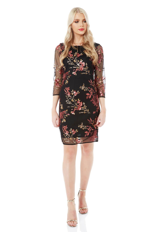 Roman-Originals-Women-039-s-Floral-Embroidered-Mesh-Overlay-Dress thumbnail 9