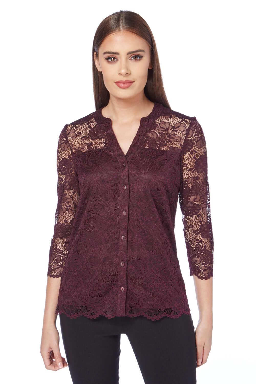 Roman-Originals-Women-039-s-Purple-Lace-Overlay-Shirt-Sizes-10-20