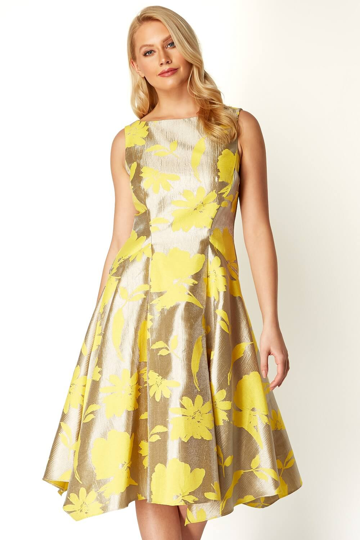 Roman-Originals-Mujeres-Vestido-ajustado-y-acampanado-de-Jacquard-Floral-50-algodon miniatura 10