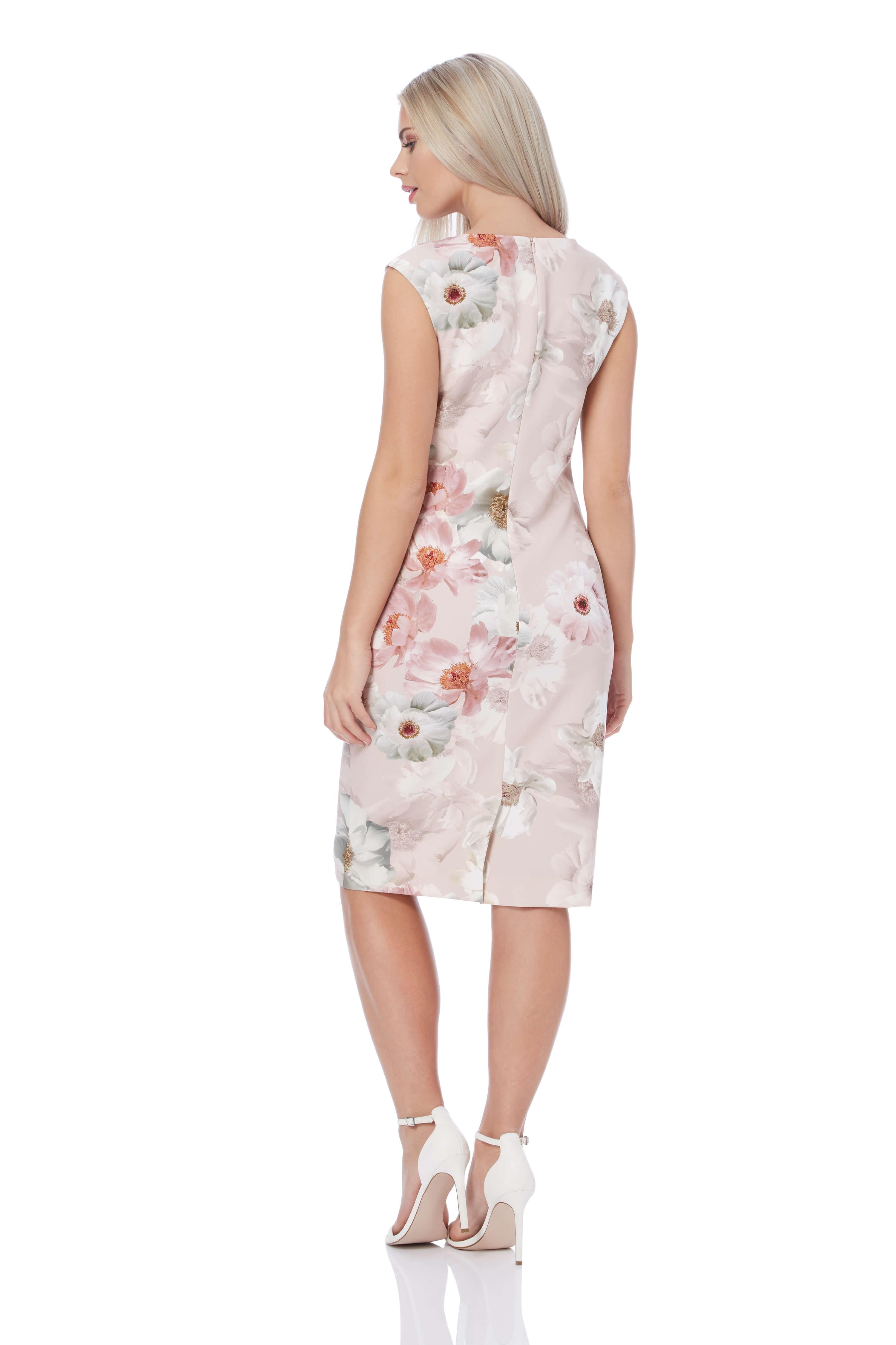 Roman-Originals-Womens-Light-Pink-Floral-All-Over-Print-Scuba-Dress-Sizes-10-20 thumbnail 14