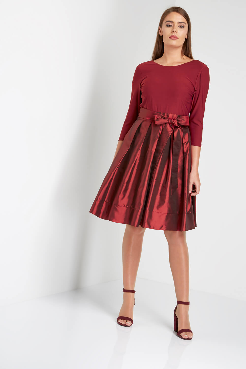 Roman-Originals-Women-039-s-Red-Fit-and-Flare-Dress-Sizes-10-20 thumbnail 8
