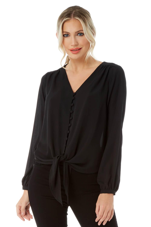 Roman-Originals-Women-039-s-Button-Tie-Front-Blouse-Ladies-Tops thumbnail 17