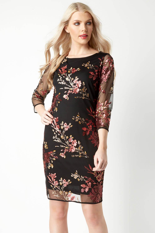 Roman-Originals-Women-039-s-Floral-Embroidered-Mesh-Overlay-Dress thumbnail 11