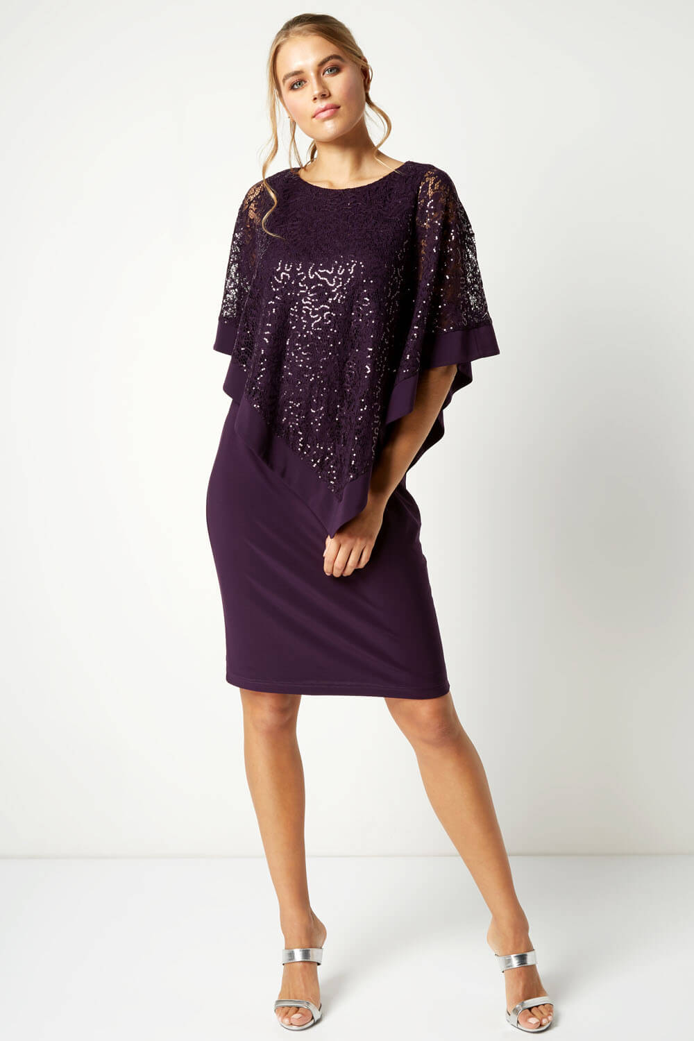 Roman-Originals-Women-039-s-Sequin-Lace-Boat-Neck-Overlay-Knee-Length-Dress thumbnail 20