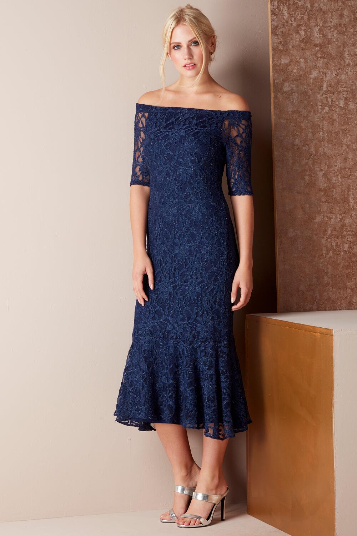 Roman-Originals-Women-039-s-Lace-Flute-Hem-Midi-Dress thumbnail 19