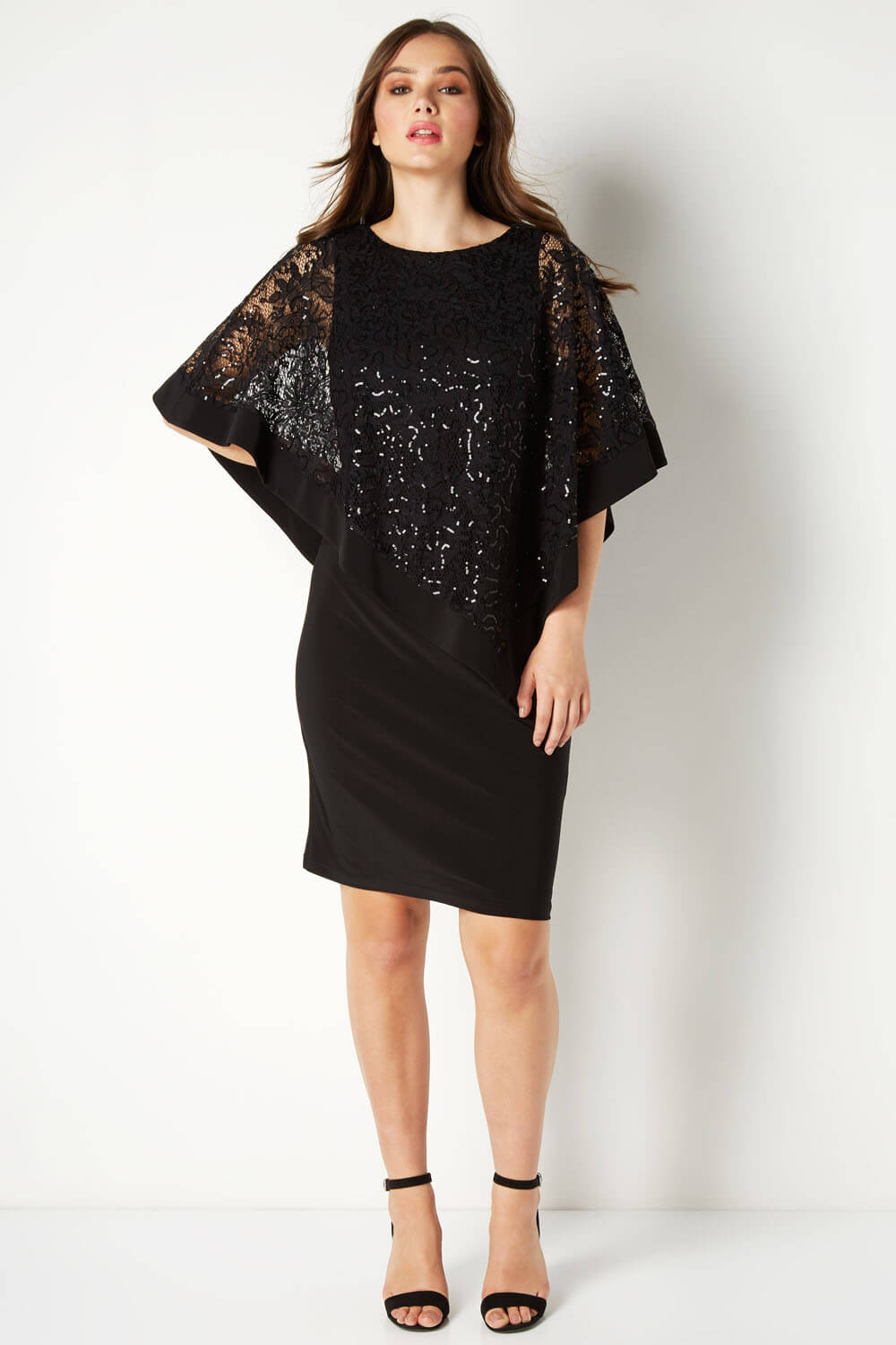 Roman-Originals-Women-039-s-Sequin-Lace-Boat-Neck-Overlay-Knee-Length-Dress thumbnail 15
