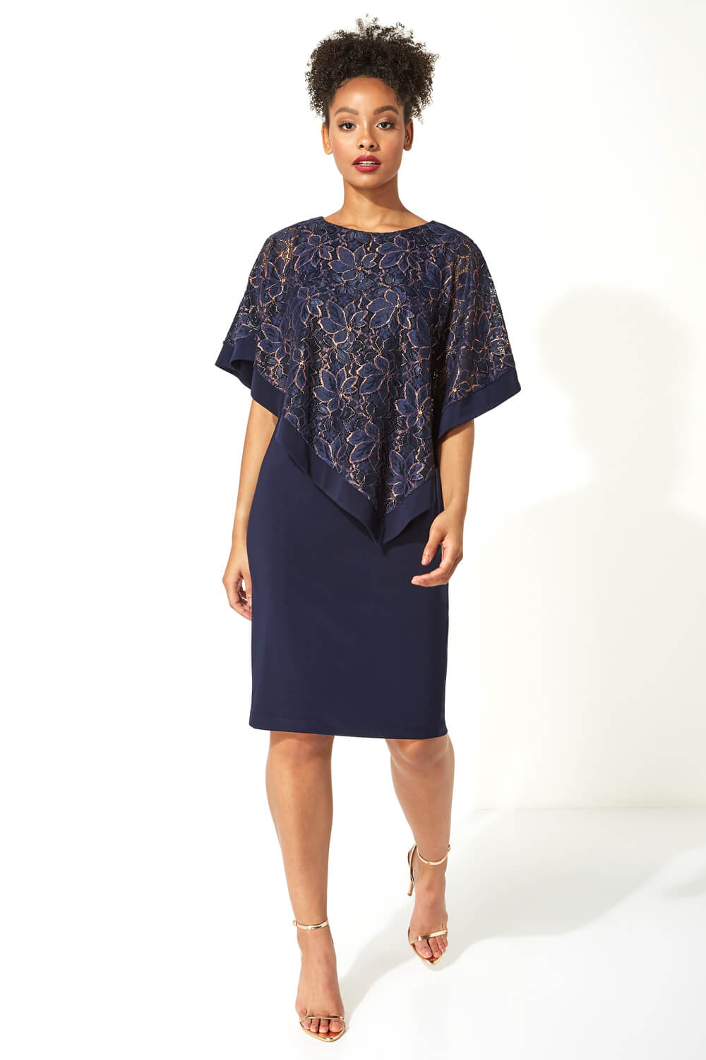 Roman-Originals-Women-039-s-Sequin-Lace-Boat-Neck-Overlay-Knee-Length-Dress thumbnail 25