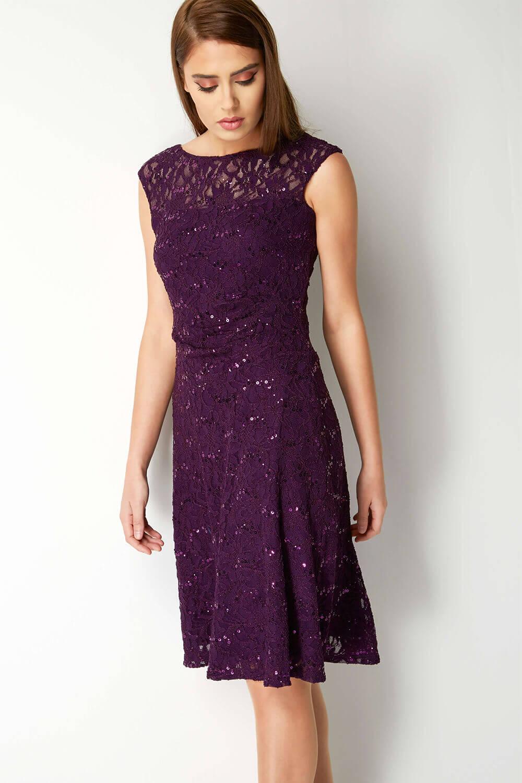 Roman-Originals-Ladies-Lace-Fit-and-Flare-Dress-Purple thumbnail 21