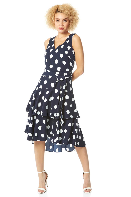 Roman-Originals-Women-Spot-Frill-Tired-Belted-Dress thumbnail 12