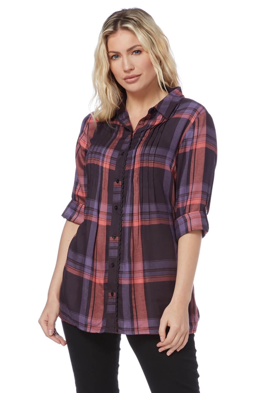 Roman-Originals-Women-Check-Pintuck-Shirt-in-Purple-sizes-10-20 thumbnail 14