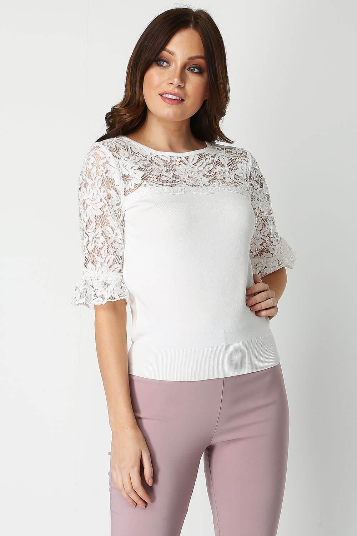 Roman-Originals-Women-039-s-Lace-Overlay-Frill-Sleeve-Top thumbnail 18