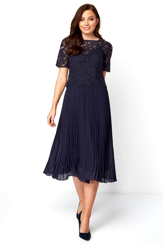 Roman-Originals-Women-Lace-Top-Overlay-Pleated-Dress thumbnail 15