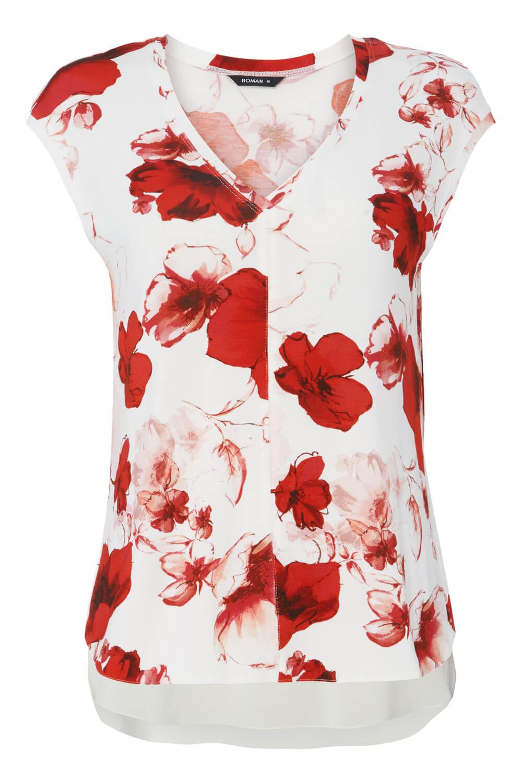 Roman-Originals-Femmes-Rouge-V-cou-Poppy-Imprimer-Mousseline-Ourlet-Haut-Tailles-10-20 miniature 10