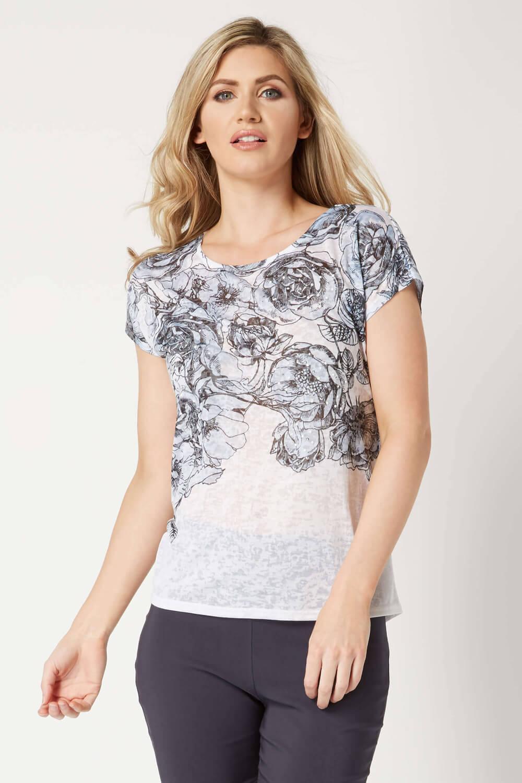 Roman-Originals-Women-039-s-Blue-Floral-Print-Hot-Fix-Jersey-Top-Sizes-10-20 thumbnail 6