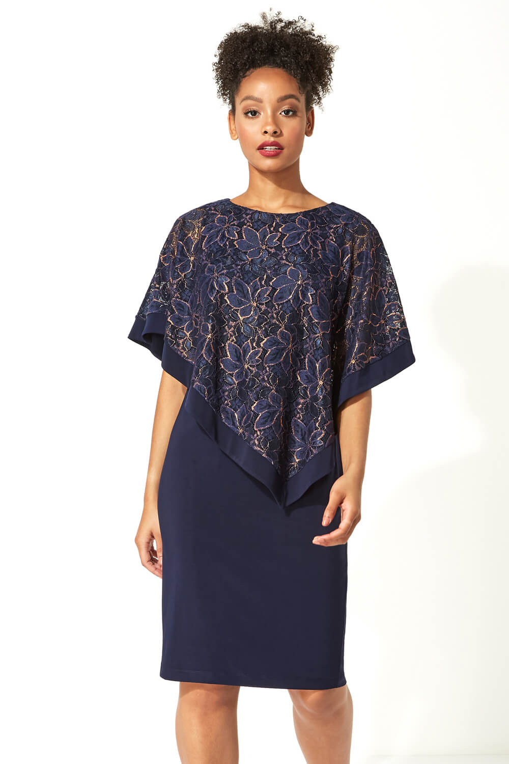 Roman-Originals-Women-039-s-Sequin-Lace-Boat-Neck-Overlay-Knee-Length-Dress thumbnail 24