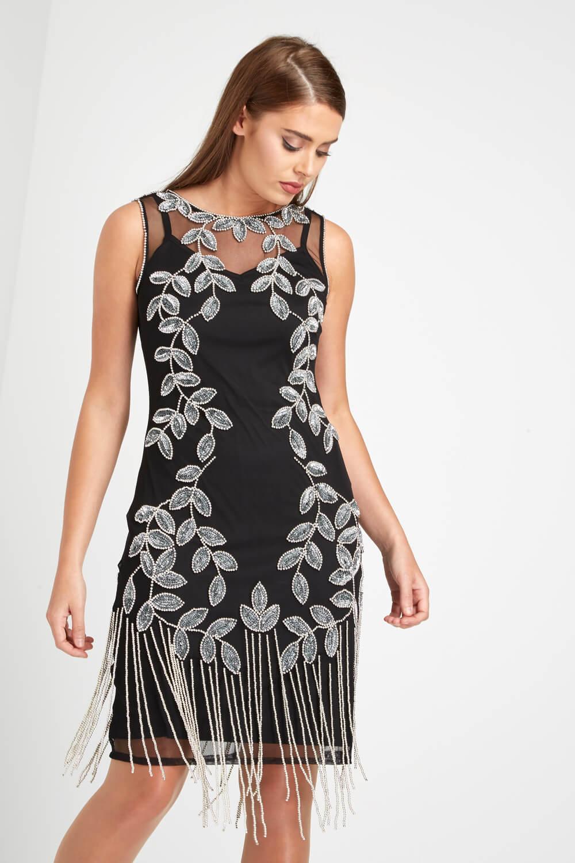 Roman-Originals-Ladies-Embellished-Flapper-Dress-Silver thumbnail 22