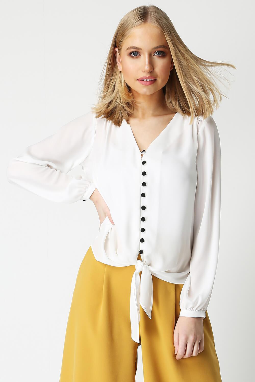 Roman-Originals-Women-039-s-Button-Tie-Front-Blouse-Ladies-Tops thumbnail 36