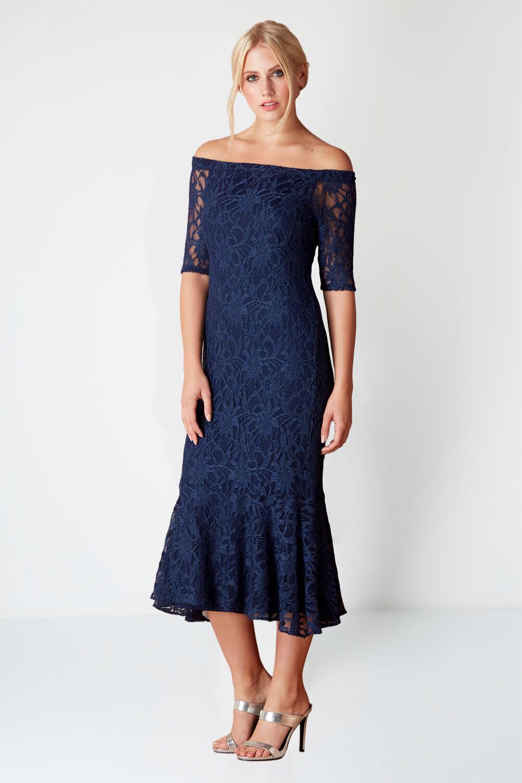 Roman-Originals-Women-039-s-Lace-Flute-Hem-Midi-Dress thumbnail 20