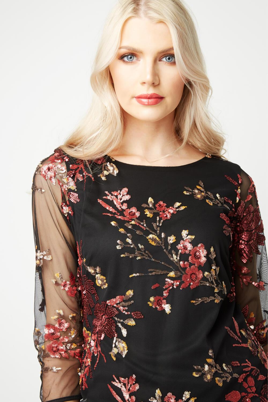 Roman-Originals-Women-039-s-Floral-Embroidered-Mesh-Overlay-Dress thumbnail 13