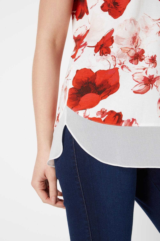 Roman-Originals-Femmes-Rouge-V-cou-Poppy-Imprimer-Mousseline-Ourlet-Haut-Tailles-10-20 miniature 9