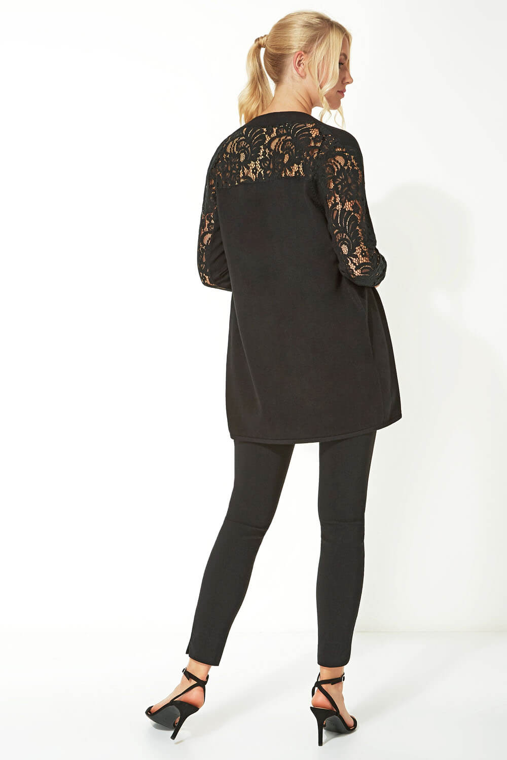 Longline-Long-Sleeve-Lace-Back-Cardigan-Women-Roman-Originals thumbnail 13