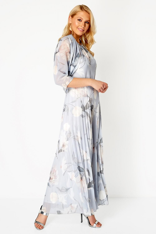 Roman-Originals-Women-039-s-Sleeveless-Floral-Pleated-Maxi-Dress thumbnail 17