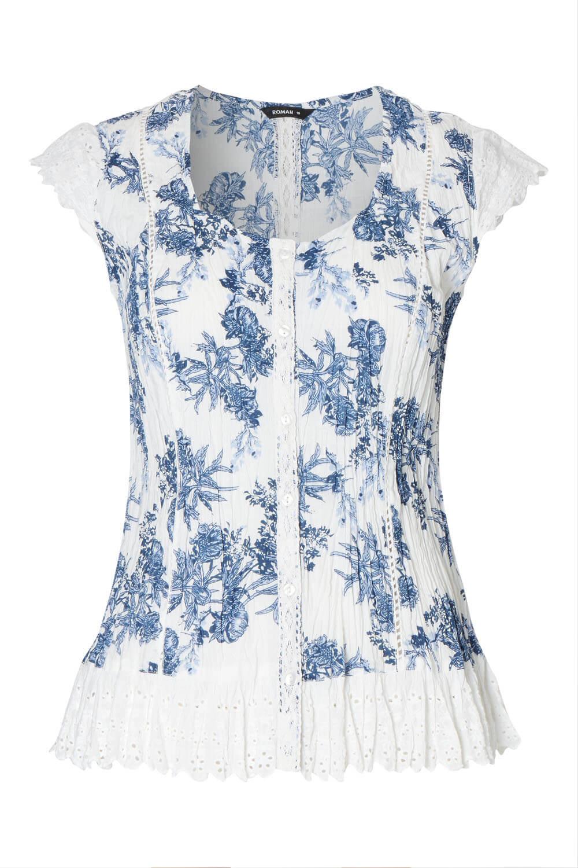 Roman-Originals-Womens-Cotton-Floral-Cap-Sleeve-Crinkle-Blouse thumbnail 12