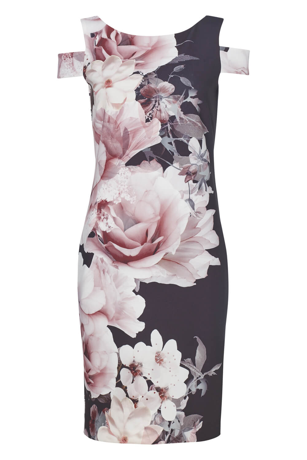 Roman-Originals-Women-039-s-Black-Floral-Print-Scuba-Dress-Sizes-10-20 thumbnail 12