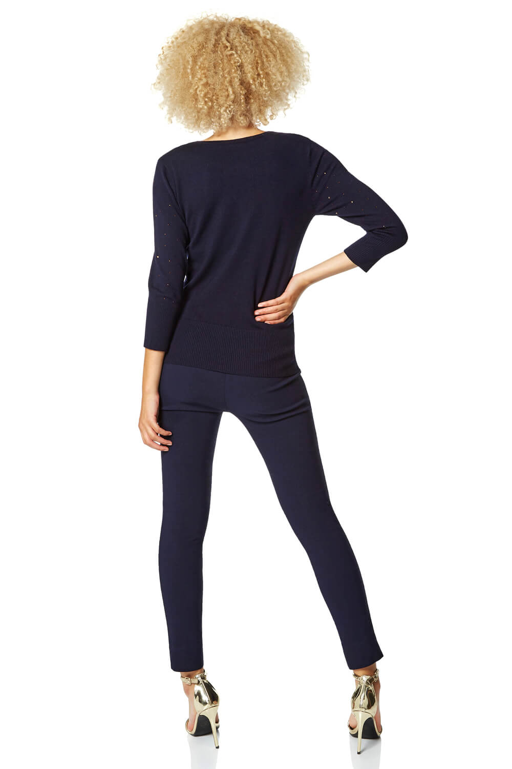 Diamante-Neckline-Long-Sleeve-Jumper-Women-Roman-Originals thumbnail 10