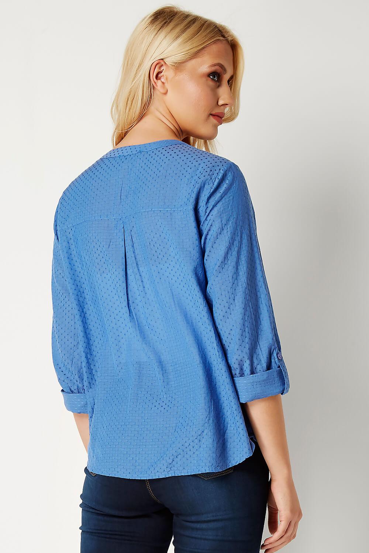 Roman-Originals-Women-039-s-Roll-Sleeve-Cotton-Mix-V-Neck-Top-Blouse-Blue thumbnail 13