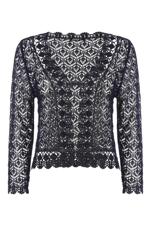 Roman-Originals-Women-039-s-3-4-Sleeve-Crochet-Shrug-Sizes-10-20 thumbnail 10