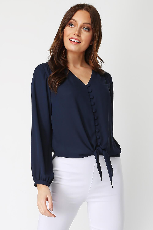 Roman-Originals-Women-039-s-Button-Tie-Front-Blouse-Ladies-Tops thumbnail 27