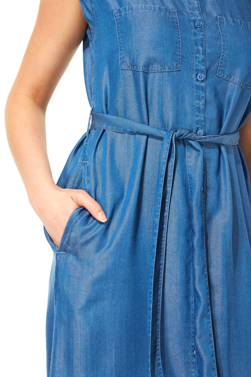 Button-Through-Midi-Denim-Dress-Women-Roman-Originals miniatuur 9