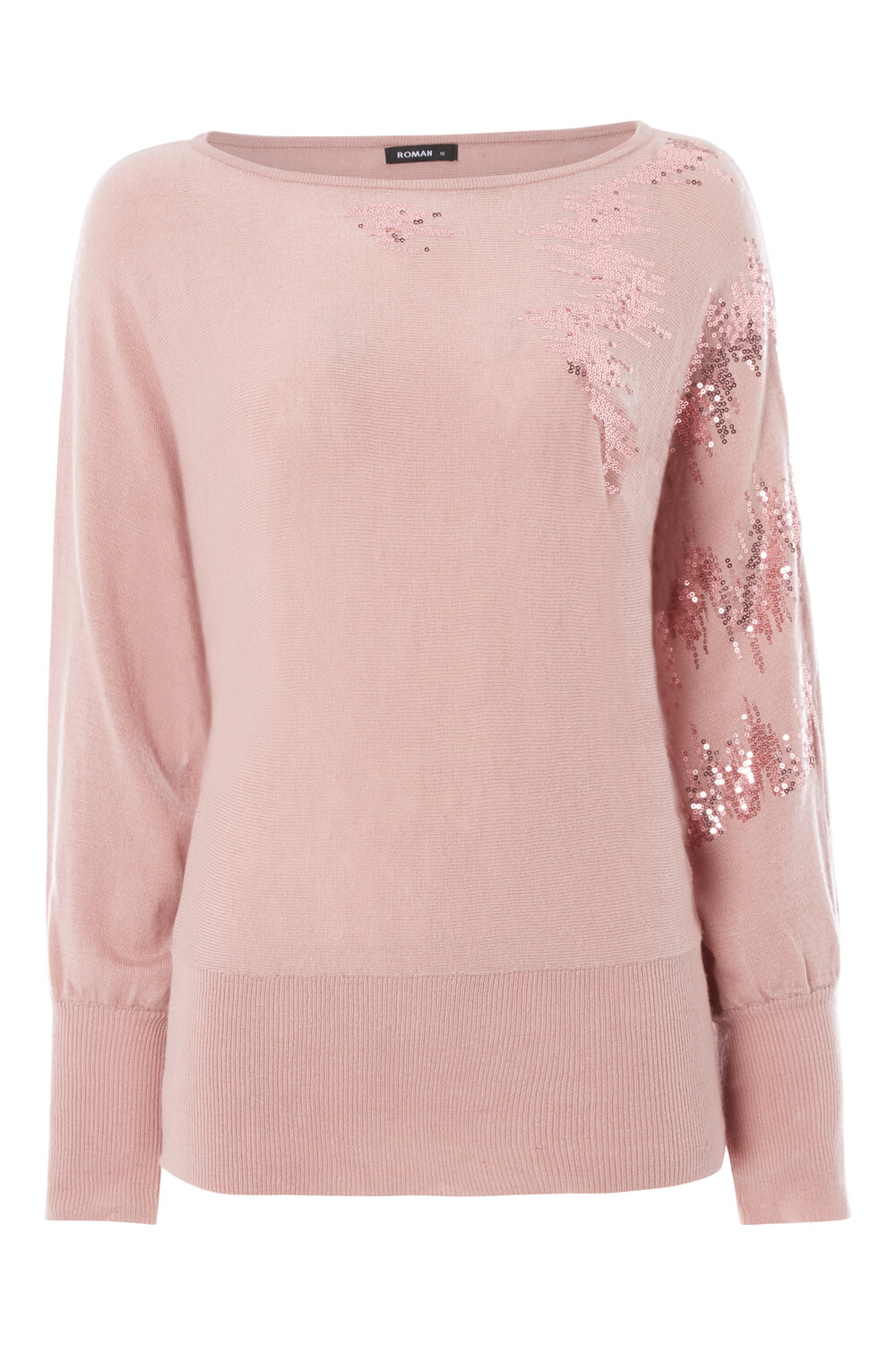 Roman-Originals-Women-039-s-Sequin-Embellished-Batwing-Sleeve-Boat-Neck-Jumper thumbnail 22