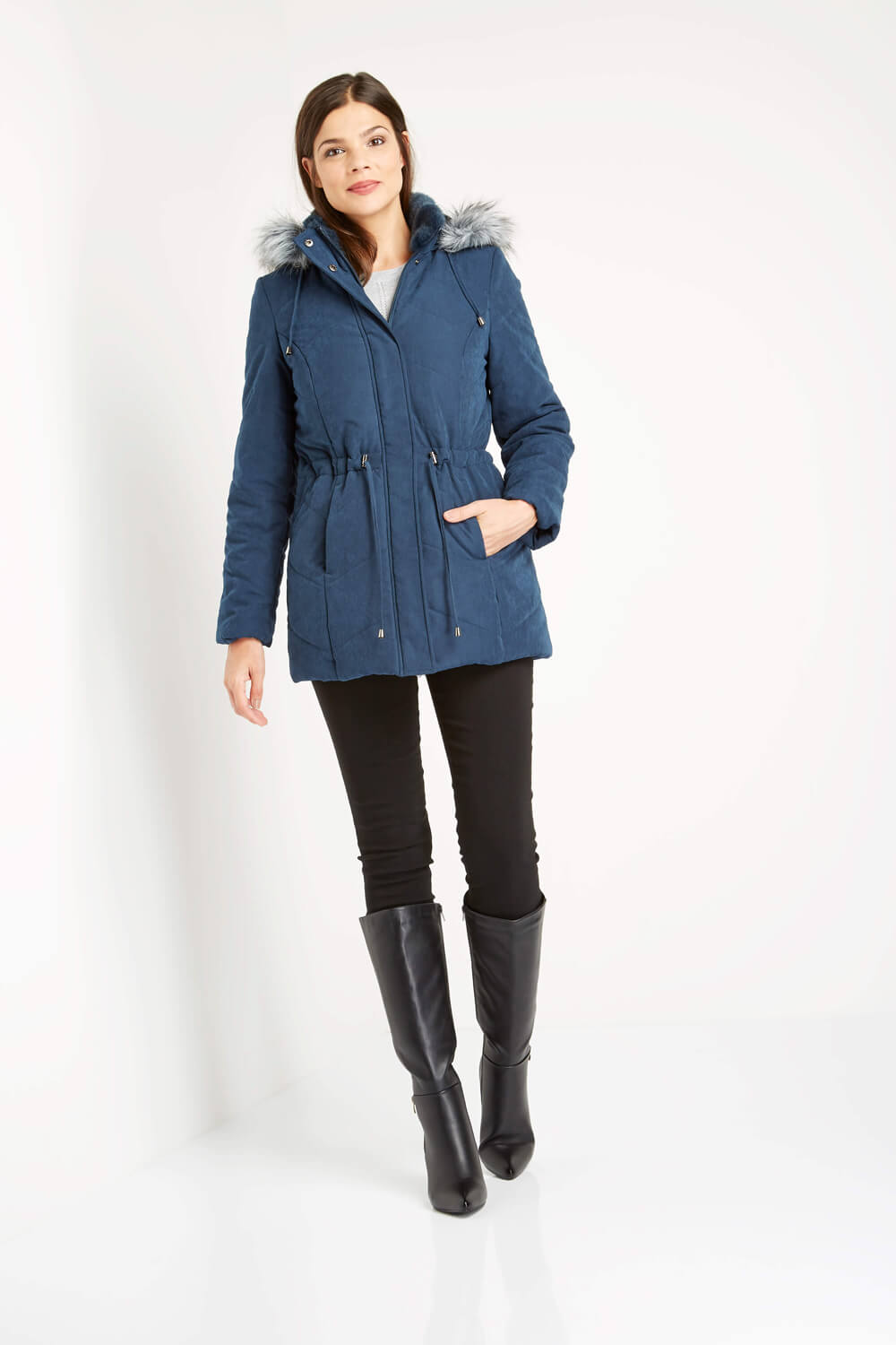 Roman-Originals-Women-039-s-Blue-Quilted-Parka-Coat-with-Hood-Sizes-10-20 thumbnail 16